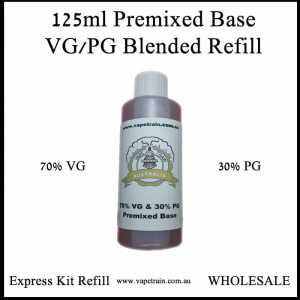 125ml 70% VG / 30% PG Premix Base DIY e-Liquid Recipe Mixing Express Kit Refill